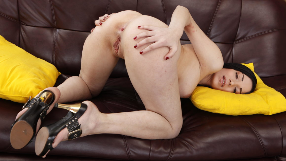 Brunette moves from dildo to two dicks
