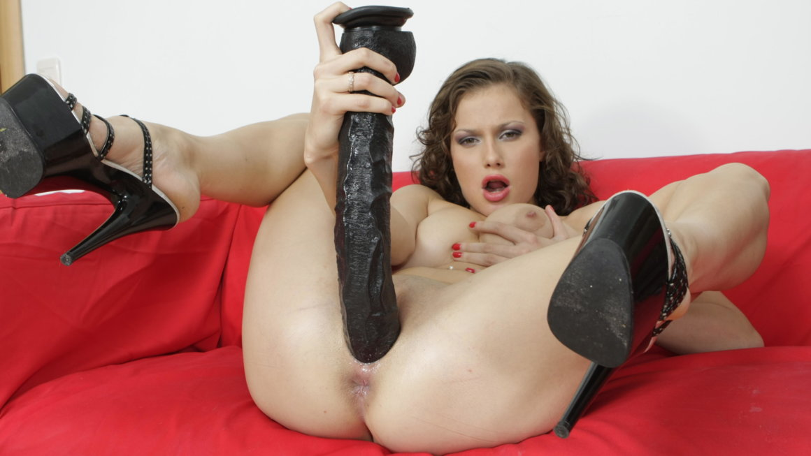 Slim cutie shows fantastic dildo swallowing talent